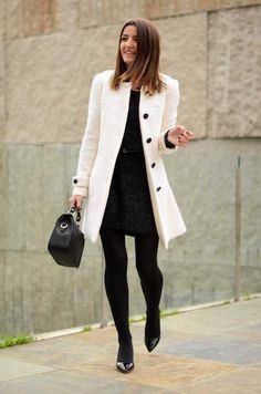 With Little Black Dresses | 12 Effortlessly Chic Ways To Wear Tights This Fall