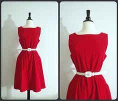 red corduroy dress / 70s corduroy