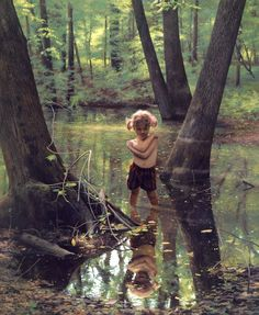 Nellie in a Woodland Pool. photo realism painting by Scott Prior