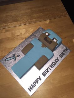 Mine craft Steve in diamond armour cake