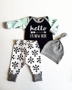 Newborn Baby Boy Coming Home Outfit Boys by RockingHorseLane