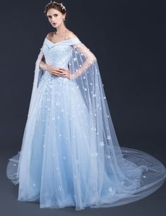 Blue Wedding Dresses,Long Bridal Gowns,Bridal Gowns with Cathedral