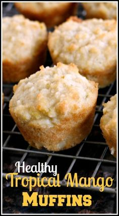 Tropical Mango Muffins easy healthy recipe for breakfast or snacks has mango, almonds, lime, coconut, and can be made gluten-free and dairy-free. An easy almond flour muffin! Mango Muffins, Gluten Free Recipes For Breakfast, Gluten Free Breakfasts, Papaya Recipes Breakfast, Breakfast Healthy, Almond Flour Muffins, Scones, Healthy Baking, Just Desserts