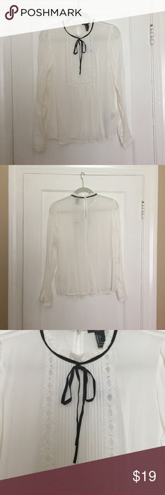 Forever 21 High Neck Ruffle Frill Blouse Bow Top NWT! Forever 21 Tops Blouses