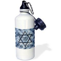 3dRose Hanukkah Menorah with Star of David in Blue, Sports Water Bottle, 21oz, White