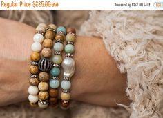 XMAS SALE Stack Bracelet Set, Boho Bracelets, Layered Bracelets, Set of Four, Stretch Bracelets, Beaded Bracelets, Pearl Bracelet, Tribal Br by AlisonStorryJewelry on Etsy https://www.etsy.com/listing/255545418/xmas-sale-stack-bracelet-set-boho