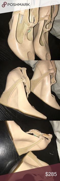"Stella McCartney Beige Wedges, EU 36, brand new Peep toe, heel 5"", beige, Eur size 36. $215. Retails for $575. Never used they're just too high for me. As you can see tag is still attached. It has small scuffs on bottom of shoes for being stored in closet. Will ship insured with original SM dust bag. Stella McCartney Shoes Wedges"