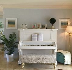 """Old piano refurbished. Used """"kids glove"""" chalk paint color. I love my new white piano! Paint Colors For Living Room, Living Room Decor, Upright Piano Decor, Refinish Piano, Painted Pianos, Painted Furniture, White Piano, Old Pianos, Piano Room"""