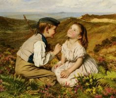 """""""It's Touch And Go, To Laugh Or No,"""" by Sophie Gengembre Anderson (French, 1823-1903)."""