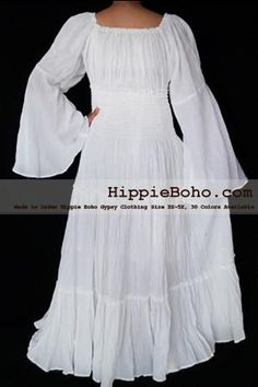 988d07ccaba No.462 - XS-7X White Plus Size Women s Clothing Bohemian Peasant Bell Long  Sleeve Tiered Maxi Dress Boho Gypsy Hippie Style