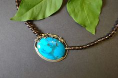 A unique dream of turquoise: Exclusive necklace, handcrafted from silver and . Gold Dots, Smoky Quartz, Turquoise Necklace, Form, Jewelry, Necklaces, Handmade, Chain, Silver