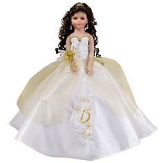 Quinceanera doll white and gold dress with floral design or choose your theme color Quinceanera Planning, Quinceanera Invitations, Quinceanera Party, Long Curly Hair, Curly Hair Styles, Ribbon Bouquet, Church Ceremony, Short Dresses, Formal Dresses