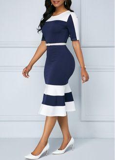 Short Sleeve Zipper Back Navy Blue Sheath Dress Latest African Fashion Dresses, Women's Fashion Dresses, Elegant Dresses, Casual Dresses, Office Dresses For Women, Burgundy Casual Dress, Spandex Dress, Classy Dress, African Dress