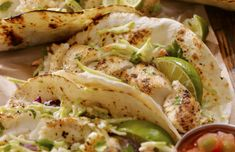 Grilled fish taco recipes: Green Lightning Shrimp Tacos, and Korean Fish Tacos with Sriracha Sauce