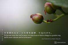 想要解脱自在,必定要有善解,包容的功夫。  ~證嚴法師靜思語~    To become more free and at peace, we must learn to look at things in a positive way,   and be more tolerant and broad-hearted.  ~Jing-Si Aphorisms by Master Cheng Yen~