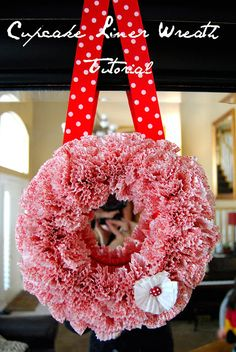 Whimsical Valentine Wreath Made Out Of Cupcake Liners