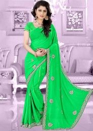 Party Wear Georgette Mint Antique Work Saree