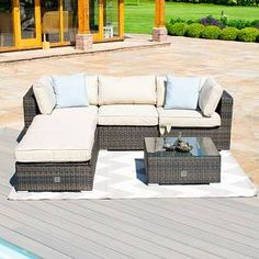 Tussey 6 Seater Rattan Corner Sofa Set Sol 72 Outdoor Colour: Brown - Brown - Size: W Oak Furniture House, Outdoor Wicker Furniture, Selling Furniture, Furniture Care, Furniture Sets, Outdoor Decor, Corner Furniture, Rattan Corner Sofa Set, Rattan Coffee Table