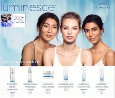 LUMINESCE BY JEUNESSE Restore youthful vitality and radiance to the skin. The Luminesce anti-aging skin care line restores youthful vitality and radiance to your skin, reduces the appearance of fine lines and wrinkles and reveals your unique glow. Dermatologist developed, these hydrating formulas include the exclusive, proprietary APT-200, maintaining younger, smoother, and softer looking skin.