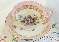 Paragon tea cup and saucer/ purple violets/ hand painted tea cup/ hand painted purple violets by VieuxCharmes on Etsy