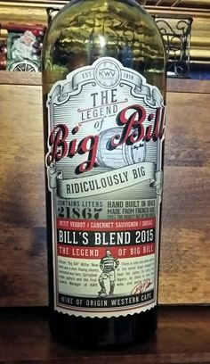 Big Bill Red Blend KWV South Africa 14 % alcohol $ 12 dark red with strawberry, cherry and mulberry aromas. Flavors of chocolate, red fruit and spice. 86pts. A great wine for this price.