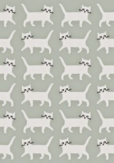 print & pattern: ILLUSTRATION and like OMG! get some yourself some pawtastic adorable cat apparel! Cat Pattern, Pattern Art, Pattern Design, Pretty Patterns, Beautiful Patterns, Textile Patterns, Textiles, Loom Patterns, Impression Textile