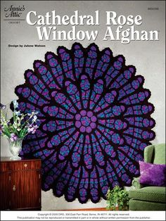 """Award-winning Cathedral Rose Window crochet afghan pattern, updated with modern colours. 78"""" diameter, pattern from Annie's Craft Store"""