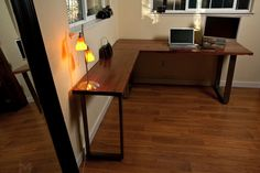 Reclaimed Redwood L Desk // Floating Return by MezWorks on Etsy, $1695.00