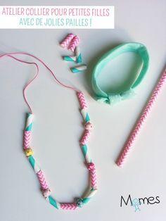 atelier bijoux anniversaire fille avec des pailles en papier. Genial!