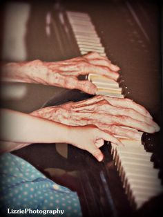 <3 My Great Grandma playing the piano and my little hand joining in...<3  -LizziePhotography