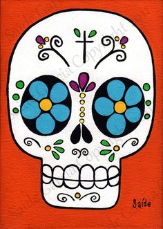 Items similar to Day of the Dead Blue eyes Skull Original Print sugar skull on Etsy - Painting Sugar Skull Painting, Sugar Skull Art, Sugar Skulls, Skull Rock, Tilda Toy, Sugar Skull Design, Posca Art, Day Of The Dead Skull, Candy Skulls