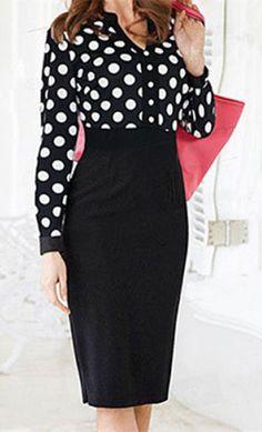 Stylish V-Neck Long Sleeve Polka Dot Dress For Women