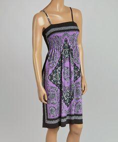 Look at this #zulilyfind! Purple & Black Shirred Empire-Waist Dress #zulilyfinds