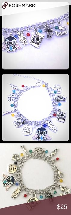 "🌺 LILO & STITCH Charm Bracelet 🌺 Give your wrist stylish sone fun & elegant style with this Disney lilo and stitch bracelet with adorable charms such as Stitch, Lilo, Crown, Duck, Camera, Tree and more. Bracelet is made up of high quality alloy material. This piece is adjustable to your wrist size by way lobster claw closure with link chain. Allowing maximum comfort wearability ❤️ measures a total of 10"" in length, will fit x-small to x-large wrists. New in package Bling Soul Jewelry…"