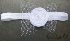 ręcznie wykonana opaska idealna na chrzest, przyjęcie - kolor biały