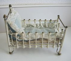 Antique miniature ... German Marklin antique doll house Cast Iron Baby Bed crib