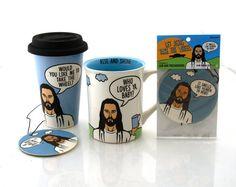 Jesus Travel Mug extra large mug and air freshener by LennyMud