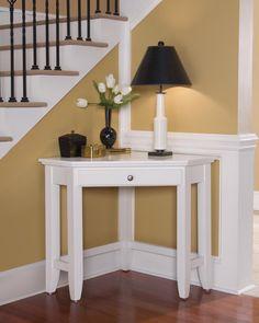 Home Styles Naples Laptop Desk Corner Foyer Table White Finish