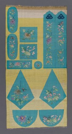 Fabric with uncut pieces for set of purses  Chinese, Qing dynasty, late 19th century   China  Dimensions  70.8 x 34.5 cm (27 7/8 x 13 9/16 in.)  Medium or Technique  Silk slit tapestry (kesi).  MFA musuem, boston.
