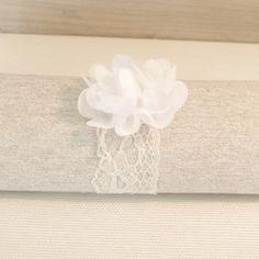 Rond de serviette dentelle fleur blanche - 5 pièces
