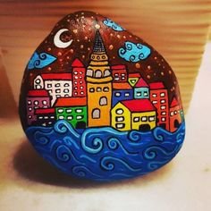 paint paintart paintstone akrilik art istanbul resim boyama tasboyama galatakulesi galatatower reposted via stones and dreams Rock Painting Patterns, Rock Painting Ideas Easy, Rock Painting Designs, Pebble Painting, Pebble Art, Stone Painting, Stone Crafts, Rock Crafts, Art Pierre
