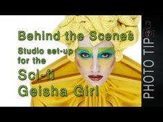 PhotographerTips Studio Lighting Set-up For The Sci-fi Geisha Girl Shoot - PhotographerTips Free Photography Classes, Photography 101, Studio Lighting Setups, Portrait Inspiration, Geisha, Girl Photos, Behind The Scenes, Sci Fi, Modeling