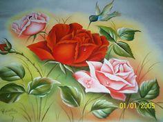 Rosvita Artes ...Pintura em Tecidos e Emborrachados: Pano de copa  -rosas com beija-flor