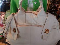 Bulga leather Handbag XXL Cruiser Bag orig $869 Off-white Cream satchel Purse $375