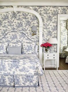 Blue And White Toile Bedroom