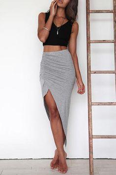 Grey High-waisted Irregular Hem Midi Skirt