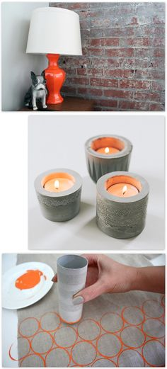 Um, really just the bottom thing.[Oh the lovely things: Happy Friday! Mini DIY Round-Up] Diy Craft Projects, Diy Crafts, Craft Ideas, Concrete Candle Holders, Cool Things To Make, Lovely Things, Toilet Paper Roll Crafts, Cement Crafts, Wooden Diy