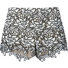 Designer Clothes, Shoes & Bags for Women White Lace Shorts, Embroidered Shorts, Alice Olivia, Patterned Shorts, Luxury Fashion, My Style, Collection, White White, Design