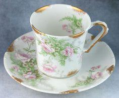 Antique Theodore Haviland Limoges France Roses Demitasse Tea Cup & Saucer 1903