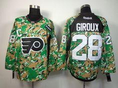 56cbf9480 Philadelphia Flyers 28 Claude GIROUX 2013 Veterans Day Practice V-Neck  Jersey - Digital Camo. NHL Hockey Jerseys